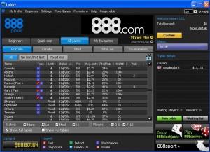 Lobby de 888 Poker