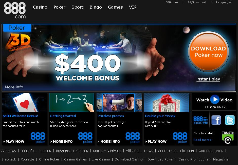 Página de Inicio de 888 Poker
