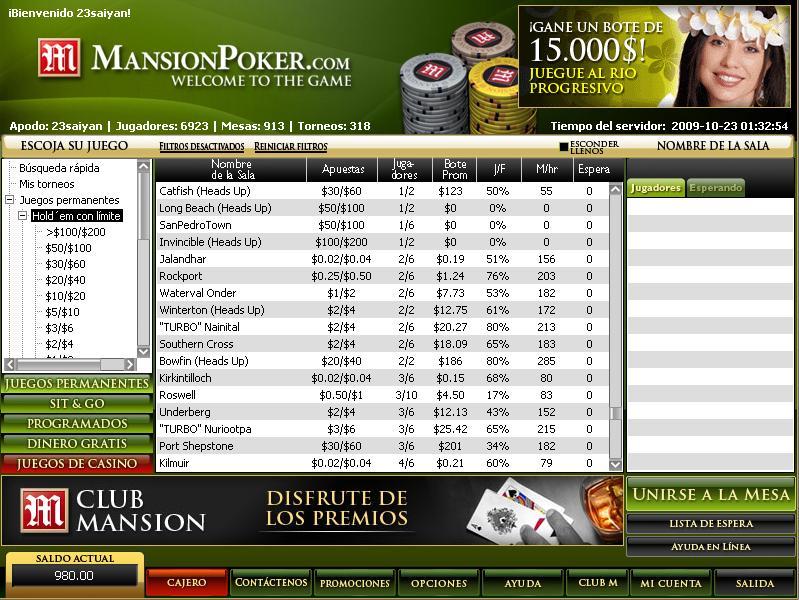 Lobby de Mansion Poker