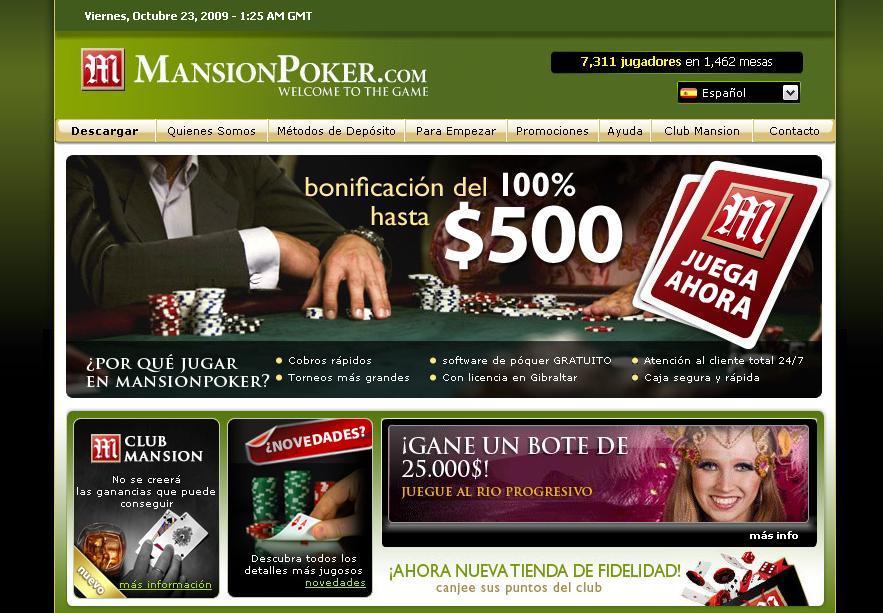Página de Inicio de Mansion Poker