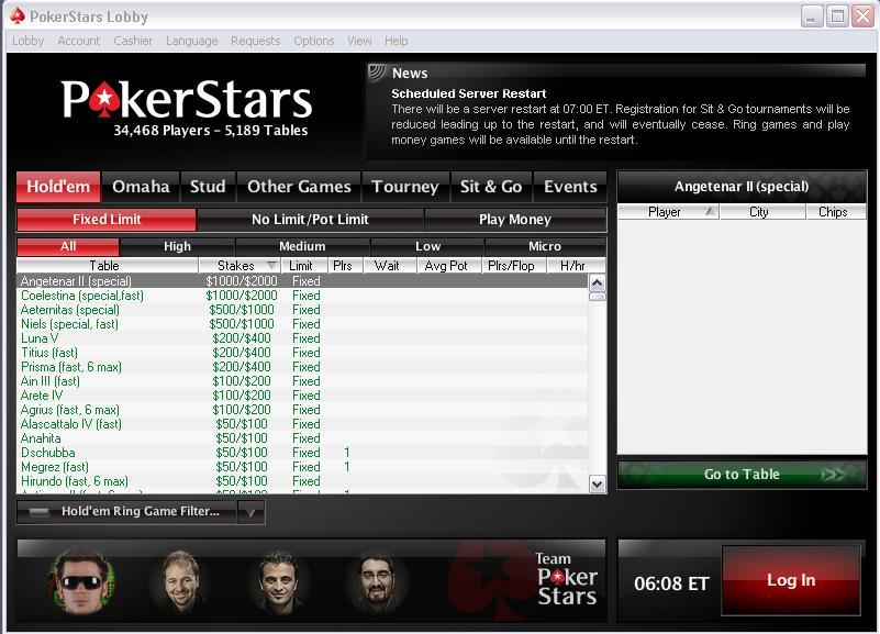 Lobby de Pokerstars
