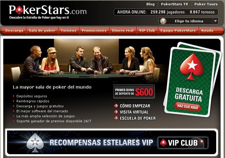 Página de Inicio de Pokerstars