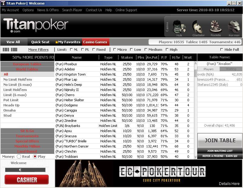 Lobby de Titan Poker