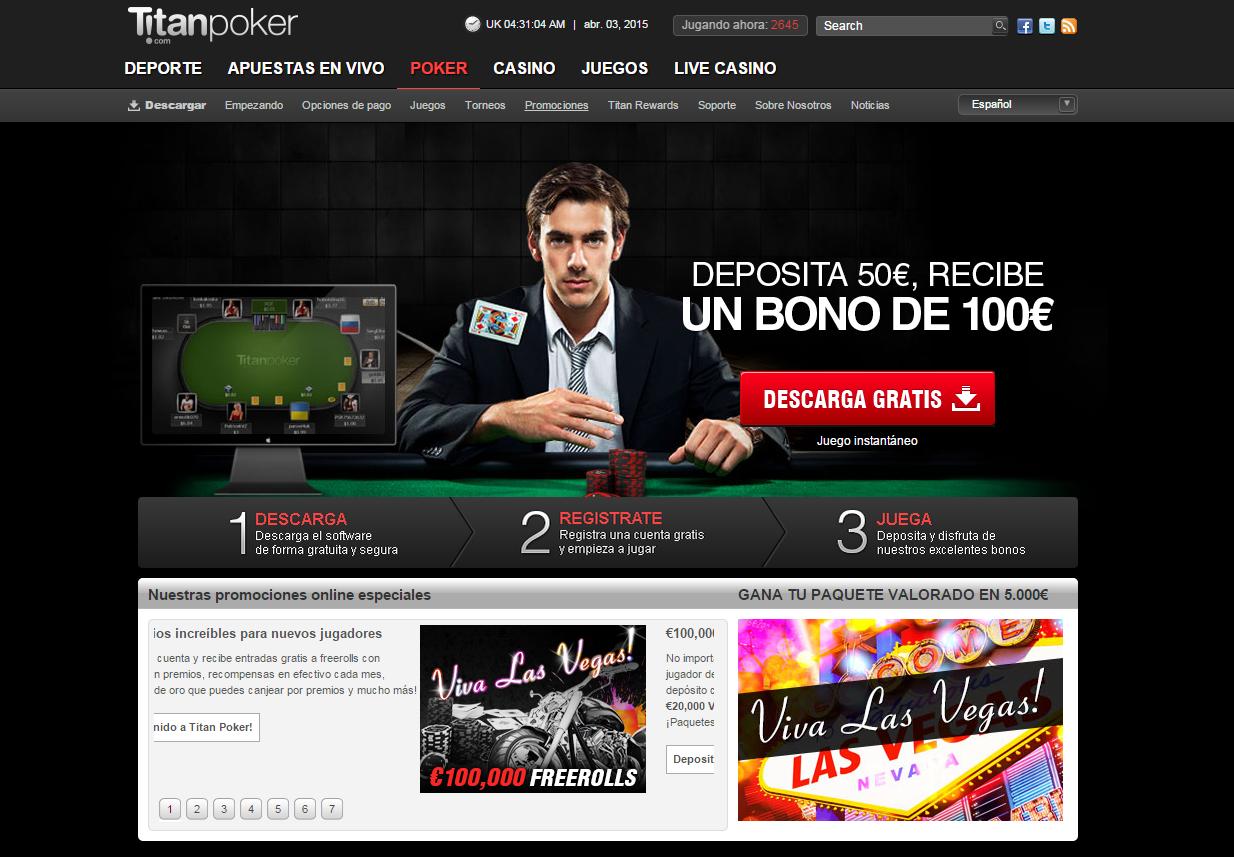 Pagina de Inicio de Titan Poker